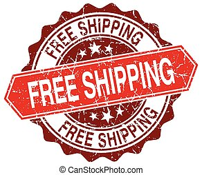 free shipping red round grunge stamp on white