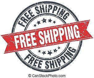 free shipping red round grunge vintage ribbon stamp