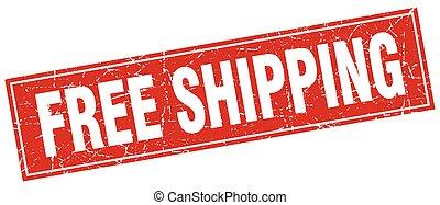 free shipping red square grunge stamp on white