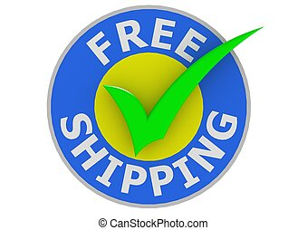 Free shipping  - Rendered artwork with white background