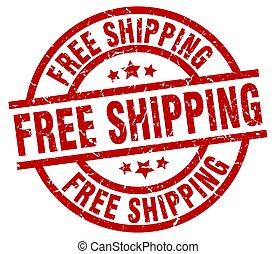 free shipping round red grunge stamp
