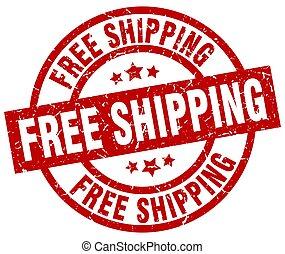 free shipping round red grunge stamp
