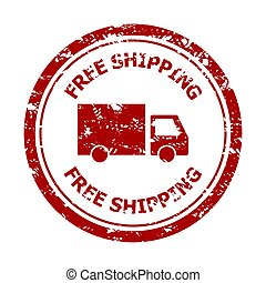 Free shipping rubber stamp isolated on white