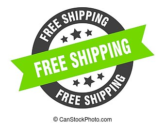 free shipping sign. free shipping black-green round ribbon sticker