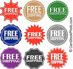 Free shipping signs set, free shipping sticker set, vector...