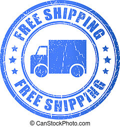 Free shipping stamp - Free shipping, vector stamp...
