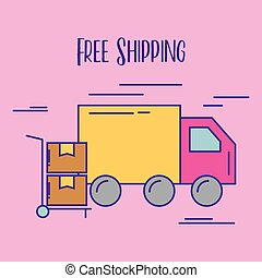 free shipping truck delivery hand cart cardboard boxes...