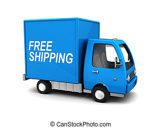 free shipping truck - 3d illustration of blue delivery truck...