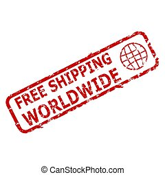 Free shipping worldwide rubber stamp. Vector services insignia warranty, goods free delivery everywhere illustration