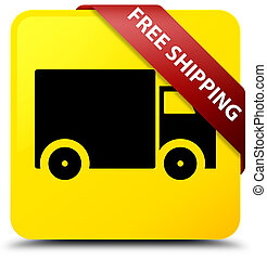 Free shipping yellow square button red ribbon in corner