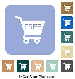Free shopping cart rounded square flat icons