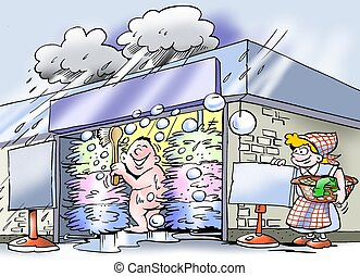 Free showers at car wash