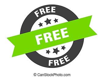 free sign. free black-green round ribbon sticker
