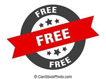 free sign. free black-red round ribbon sticker
