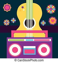 free spirit guitar and radio retro vintage flowers
