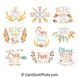 Free Spirit Hand Drawn Banner Set Of Artistic Decorative...