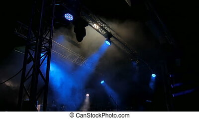Free stage with lights before concert, lighting devices