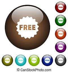 Free sticker color glass buttons