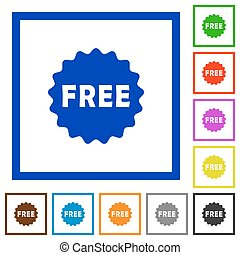 Free sticker flat framed icons