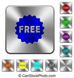 Free sticker rounded square steel buttons
