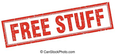 free stuff red grunge square stamp on white