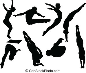 Free style diving silhouettes collection - vector