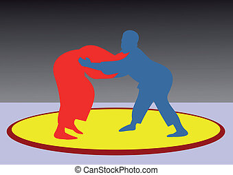 Free-style wrestling. The championship on fight. Strong fighters