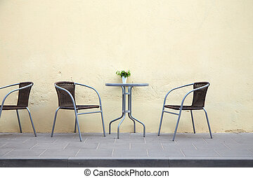 Free table in a street cafe