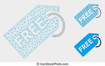 Free Tag Vector Mesh 2D Model and Triangle Mosaic Icon