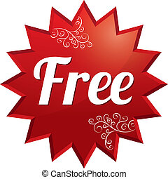 Free tag. Vector red round star floral sticker.