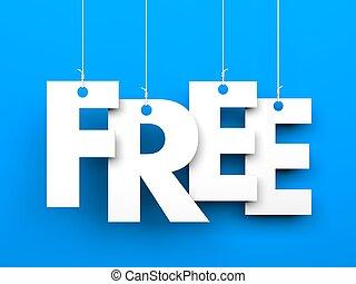 free., tekst, op, de, touwtje
