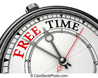 free time concept clock isolated on white background with clipping path