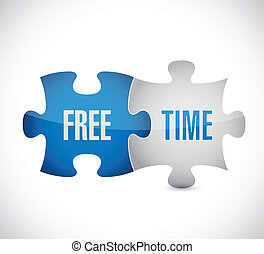 free time puzzle pieces illustration design