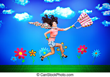 free time - Romantic girl is flying through the blue sky.