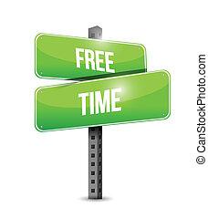 free time street sign illustration design