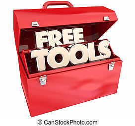 Free Tools No Cost Resources Toolbox Words 3d Illustration