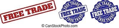 FREE TRADE Grunge Stamp Seals