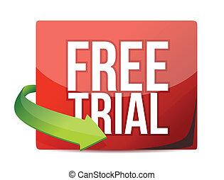 free trial arrow label illustration design over white