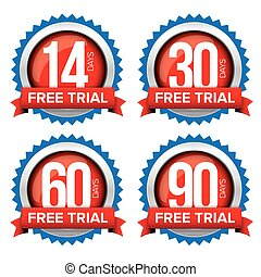 Free trial badges vector set