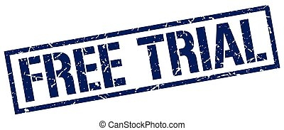 free trial blue grunge square vintage rubber stamp