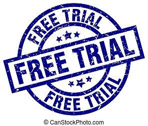 free trial blue round grunge stamp