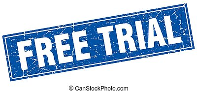 free trial blue square grunge stamp on white