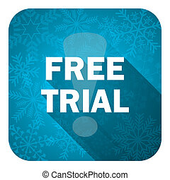 free trial flat icon, christmas button