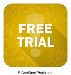 free trial flat icon, gold christmas button
