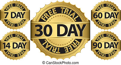Free trial golden sign set, vector