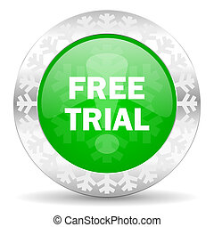 free trial green icon, christmas button