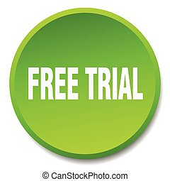 free trial green round flat isolated push button