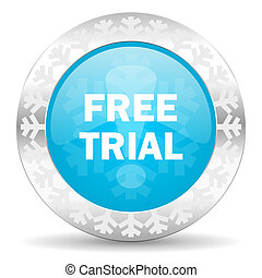 free trial icon, christmas button