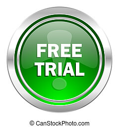 free trial icon, green button