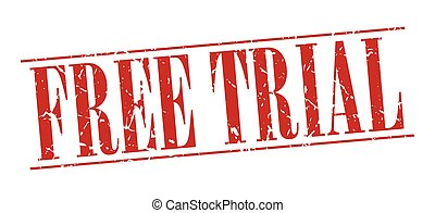 free trial red grunge vintage stamp isolated on white background